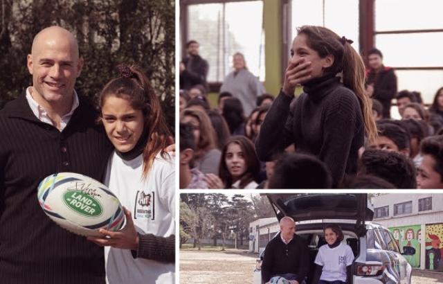 Contepomi y Land Rover sorprenden a una chica que será la mascota de Los Pumas en el Mundial